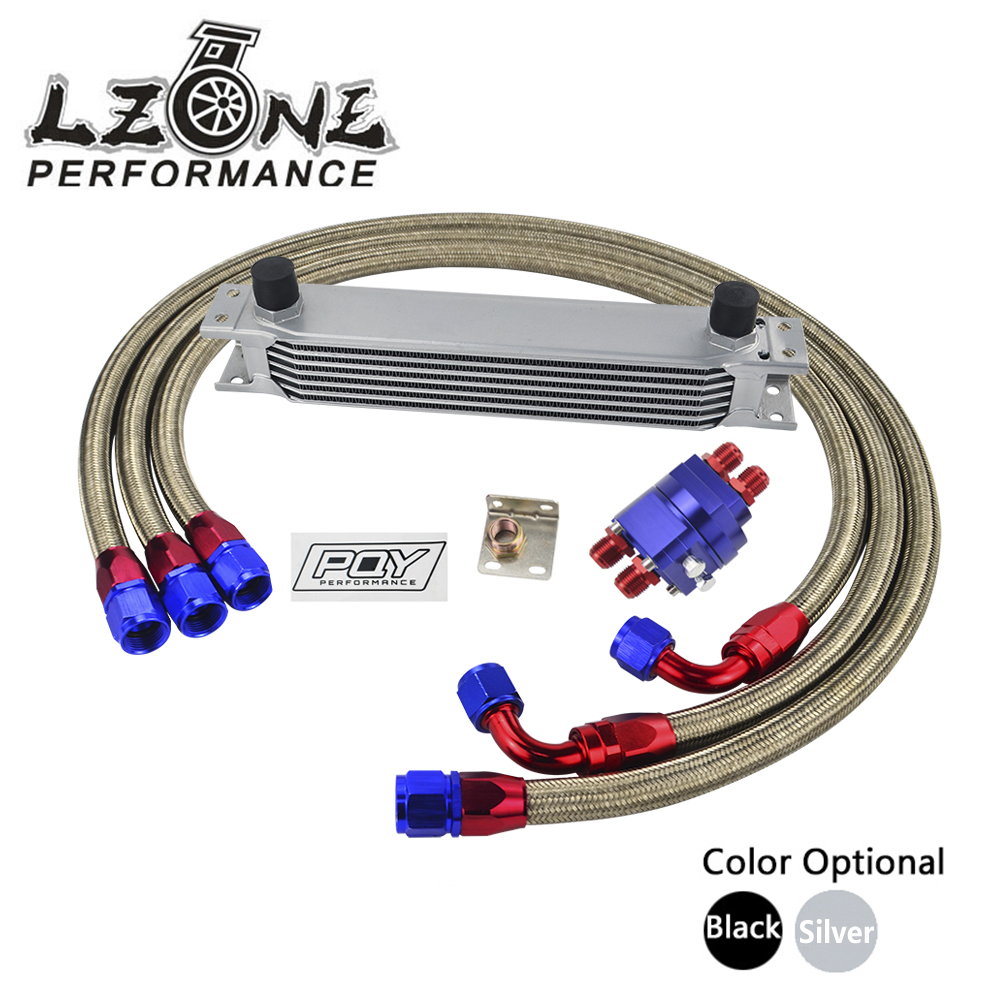 LZONE UNIVERSAL 7 ROW AN10 ENGINE TRANSMISS OIL COOLER KIT FILTER RELOCATION WITH PQY STICKER AND