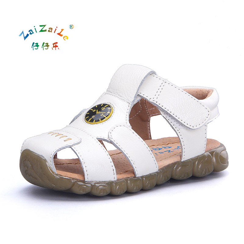 Brand Kids Sandals Genuine Leather Children Shoes Top Qiality Breathable Wear Beach Shoes For Boys Girls Boby Sandals KS61