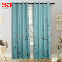 Chinese Style Birds Gradient Blackout Curtains for Living Room Butterfly Green Floral Window Drapery for Bedroom Pastoral Panel