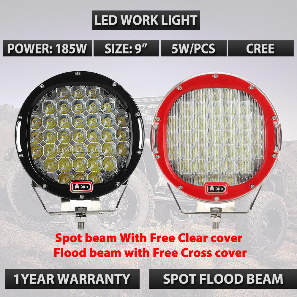 Round 185w 9inch Led Driving Work Light 4x4 Offroad Lights
