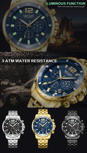 Image 3 - MEGIR גברים שעון יוקרה למעלה מותג הכרונוגרף לוח שנה שעוני יד צבאי ספורט מלא פלדה חדש זכר שעון Relogio Masculino 2068