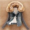 Горячая 2017 мода зимние куртки женщины повседневная Вязание Длинным Рукавом плюс размер одежды меховой воротник джинсовой куртке джинсы высокого качества