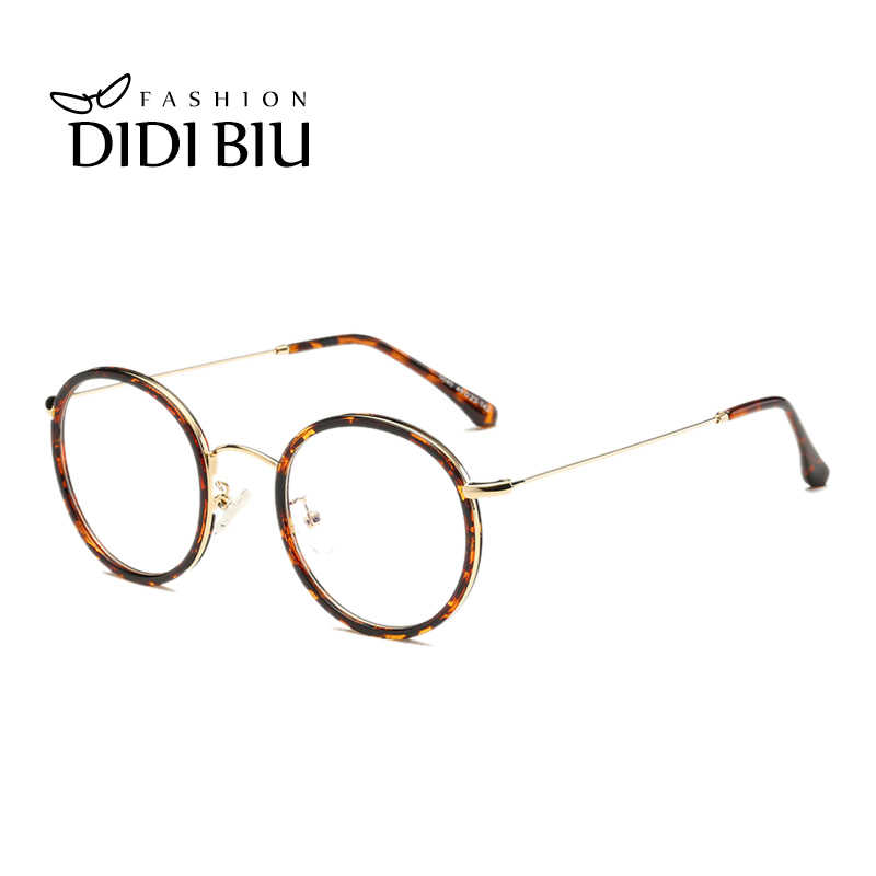 a463ad11ad Small Round Leopard Optical Frame Clear Lens Pink Brown Prescription Frame  Myopia Eye Glasses British Sight