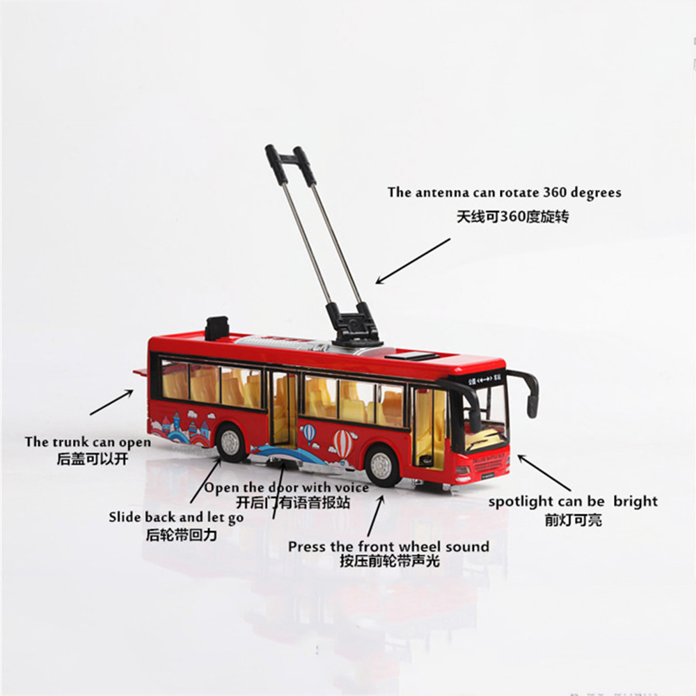 Alloy sightseeing bus model 1/32 trolley bus diecast tram bus vehicles car toy light & sound collections kids toys