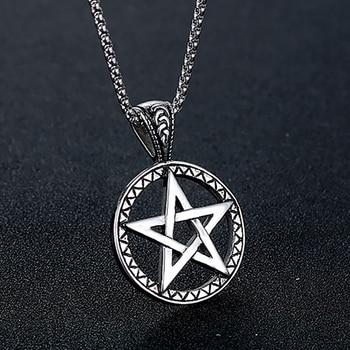 990872660f54 Vintage amuleto hueco collar de cadena de plata de acero inoxidable  talismán pentagrama collares y colgantes para hombres diablo joyería