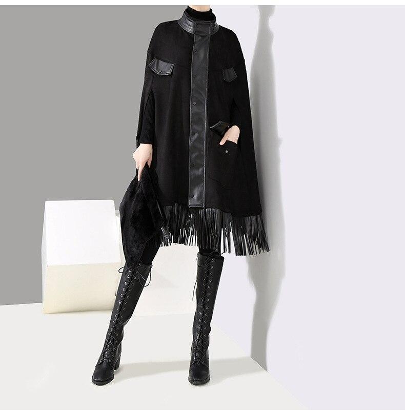 Denim   Trench   Coat   Trench   Coat 2019 Hot Sale For Women Casaco Feminino Women's Free Shipping Fringe High-neck Windbreaker Long