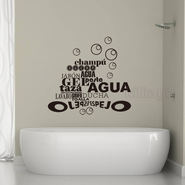 Spanish French Quote Bubbles Bathroom Stickers Vinyl Wall Decals Removable  Wallpaper Mural Wall Art Home Decor