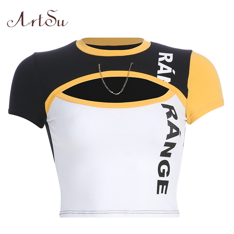 ArtSu Patchwork Letter Printed Tshirt Sexy Hollow Out Chain Short Sleeve Harajuku Crop Top Women Yellow Shirt Summer ASTS20777