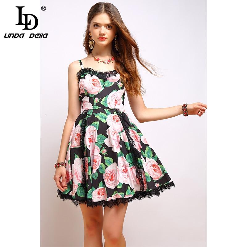 Ld linda della 패션 여름 드레스 여성 브이 넥 스파게티 스트랩 레이스 패치 워크 우아한 꽃 프린트 섹시한 미니 짧은 드레스-에서드레스부터 여성 의류 의  그룹 2