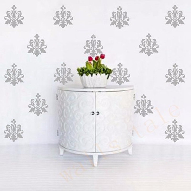 French damask flower wall sticker diy wall art vinyl for Decoration platre style francais