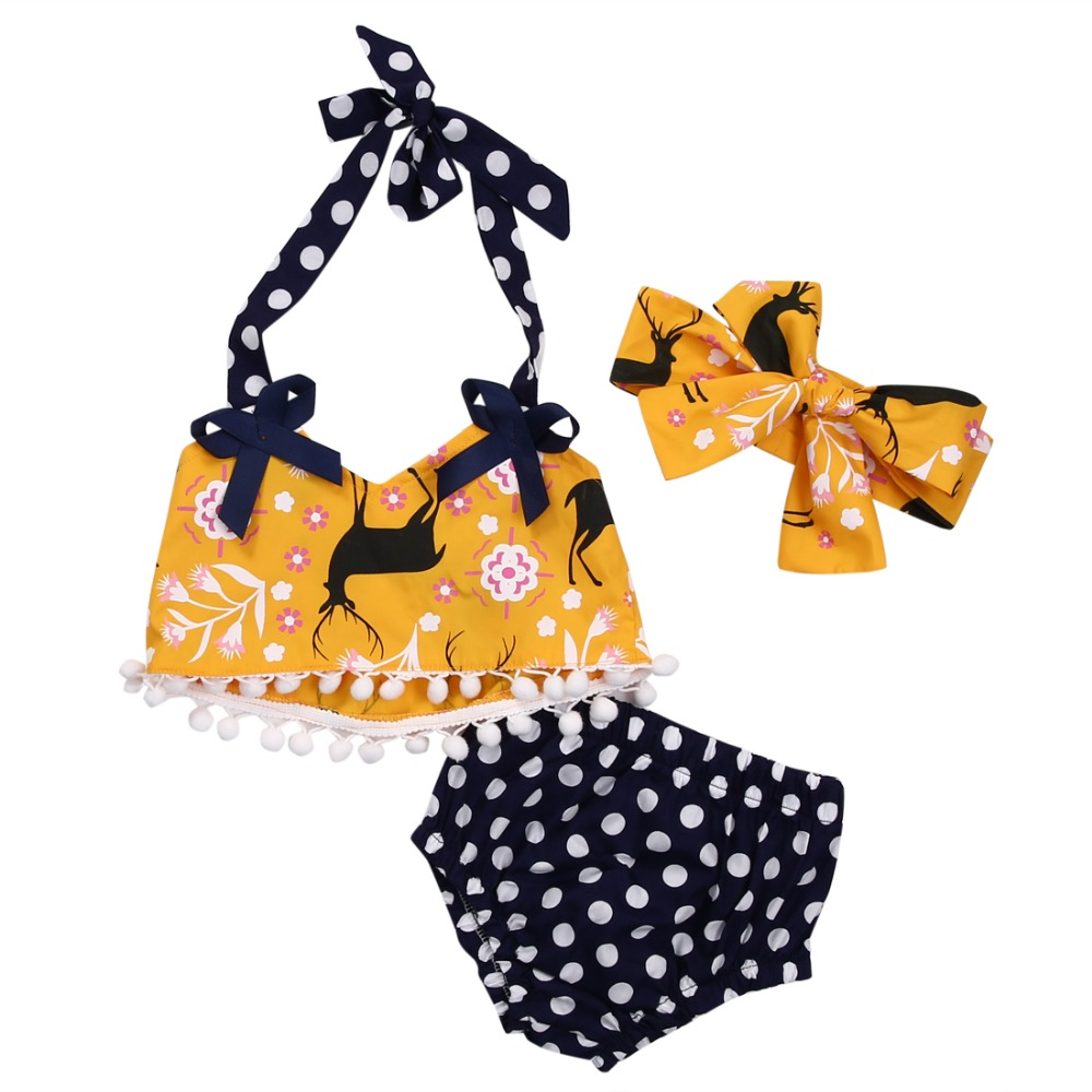 New Summer Newborn Infant Baby Girl Clothes Set Tops Gallus Vest Shorts Headband Outfit Sunsuit