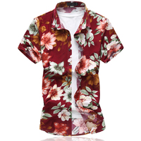 2017 Summer New Style Men S Casual Printing Short Sleeve Shirts Men S 100 Cotton Flower