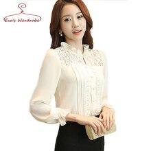 Turtleneck Lace Stitching Chiffon Shirts Fall 2016 Women s Blouses Plus Size Slim Female White Lace