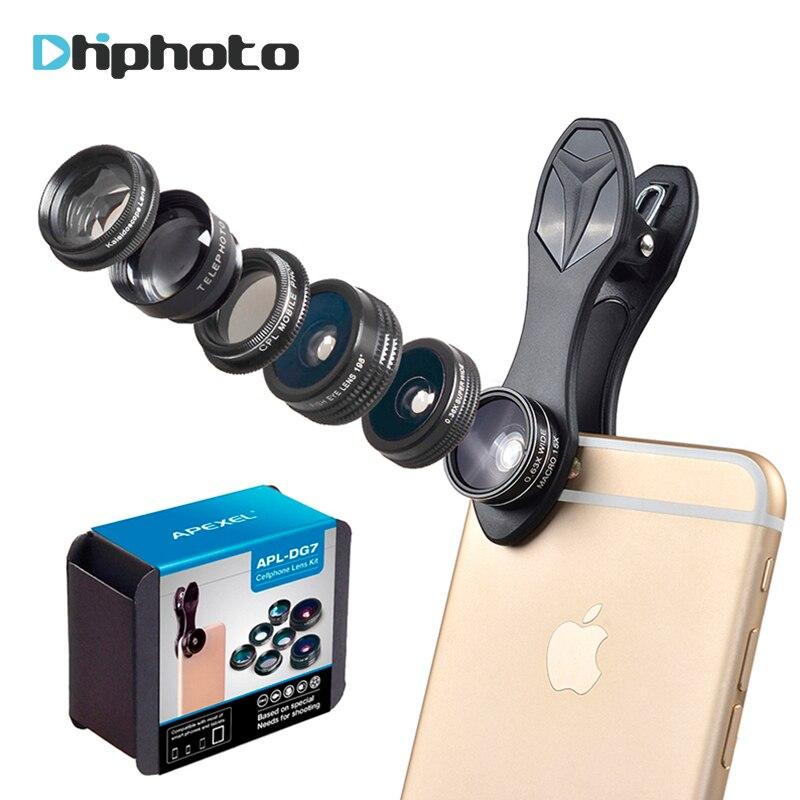 APEXEL 7 dans 1 CPL Fisheye Grand Angle Mobile Lentille Macro 2X Télescope Téléphone Objectif Zoom Caméra Lentilles pour iPhone X 7 8 Samsung S8