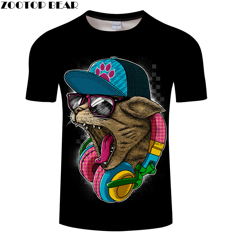 Cat&Music 3D Print t shirt Men Women tshirts Summer Funny Cartoon Short Sleeve O-neck Tops&Tees 2018 New Drop Ship ZOOTOP BEAR