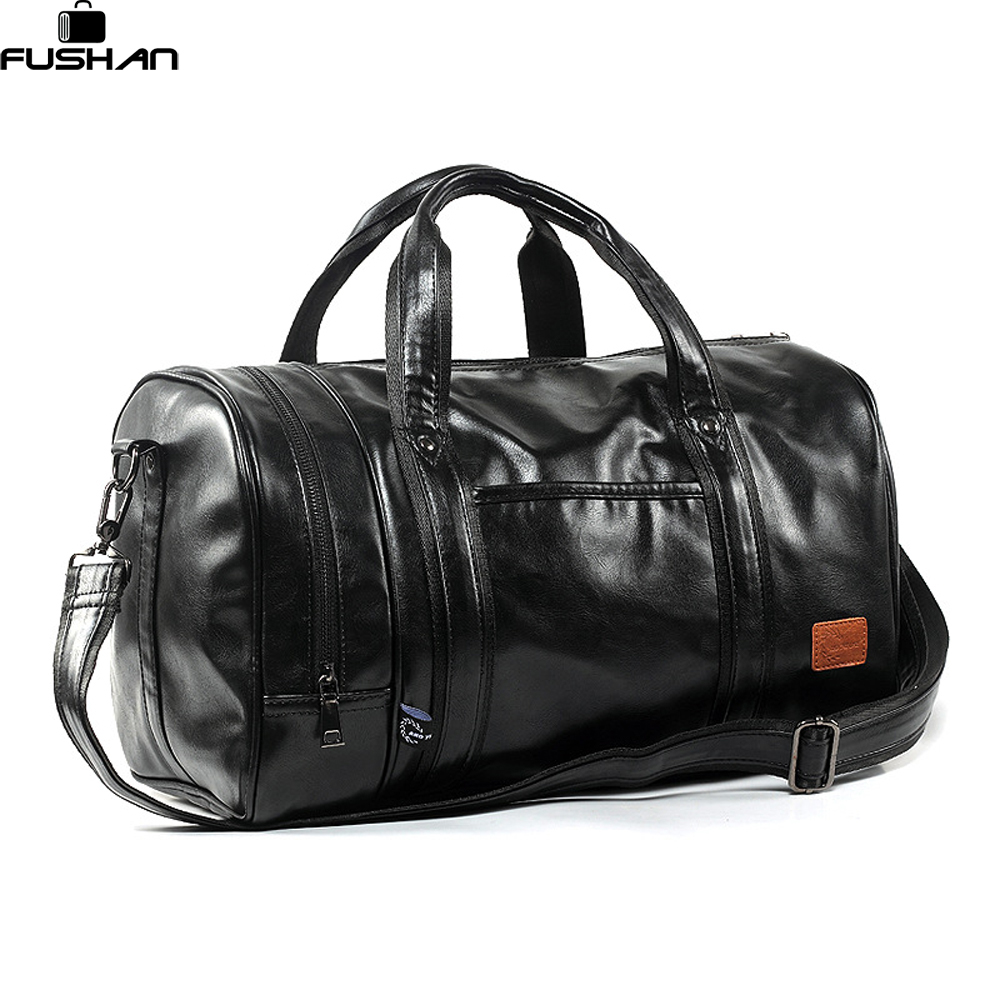 Large Capacity Leather men's travel bags Vintage handbags shoulder bag Big men Luggage bag Deodorant separate shoe Compartment