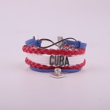 Drop Shipping Unisex Infinity National Flag Bracelet Heart Charm Leather & Bangles for Women Men Jewelry