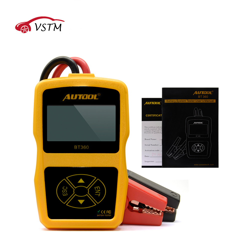 TOP AUTOOL BT360 12V Digital Car Battery Tester for Flooded GEL BT 360 12 Volt Automotive