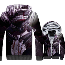Japanese Anime Tokyo Ghoul Jacket Men Hoodie Harajuku Sweatshirt Winter Thick Fleece Zip up 3D Print Coat Hip Hop Streetwear 5XL