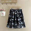 2017 NEW Fashion double Print Pleated Knee-Length layer women chiffon skirts Black Blue high quality ladies party skirts