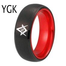 YGK חתונה תכשיטי טבעת עבור הבונים החופשיים מייסון גברים של שחור טונגסטן עם אדום Anodized אלומיניום שיבוץ טבעת