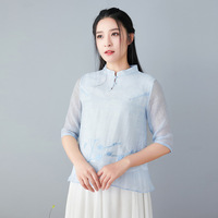 New Chinese Zen Top Chinese Style Stand Collar Women's Silk Jacquard Embroidery Tea Service