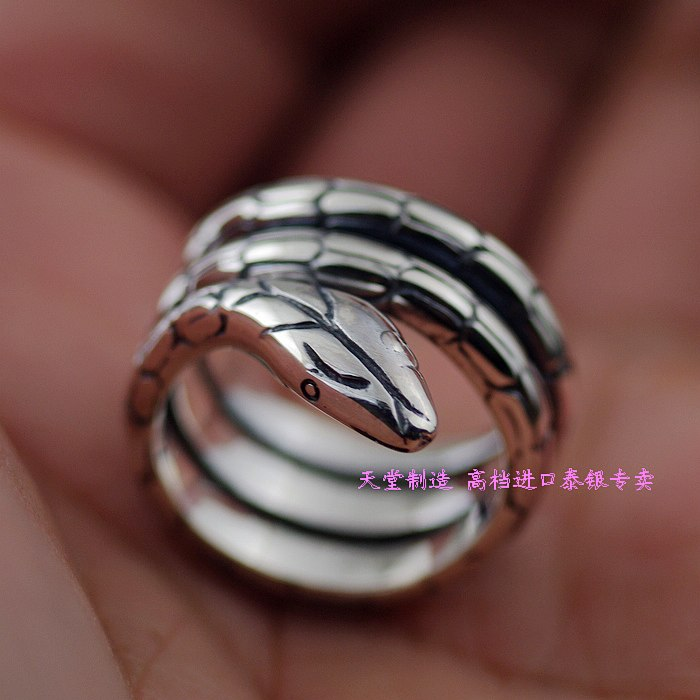 Thailand imports, 925 sterling silver snake snake around the mean disc opening Silver Ring thailand imports skull blood new skeleton silver ring