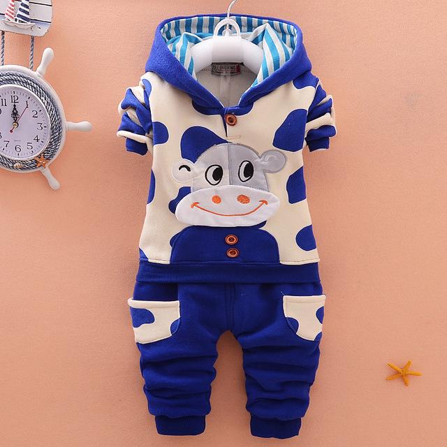 Bebê meninos criança crianças Veludo Vaca com capuz + calça terno conjunto completo 2 pcs conjunto terno roupas define kids clothing set 2016 Nova Primavera Autum