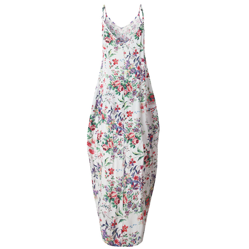 Print Floral Loose Boho Bohemian Beach Dress Women Sexy Strap V-Neck Retro Vintage Long Maxi Dress Summer 2017 Plus Size 3XL 6