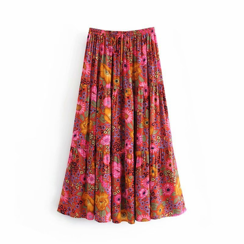 Hot Sale Holiday Wind 42-8262 European And American Fashion Printed Skirts The Waist Belt