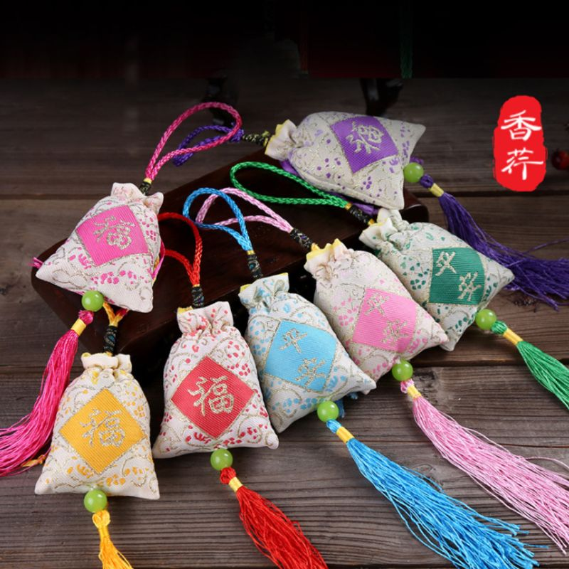 Car Hanging Lavender Sachet Bag Traditional Chinese Folk Art Word Printed Tassels Medicine Spice Fragrance Mascot Decoration Ran