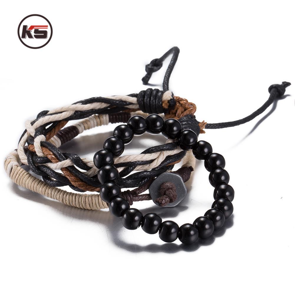 3pcs Vintage Hemp Rope Chain Handmade Weave Charm Beads Bracelets & Bangles  Jewelry For Men And