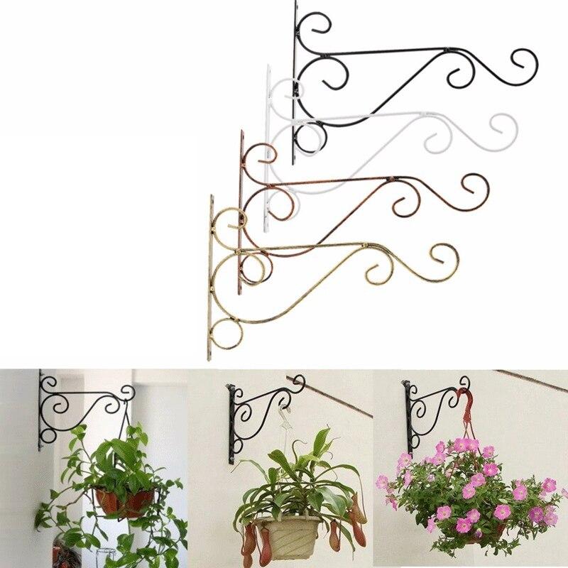 hanging wrought iron flowerpot basket wallbracket hook pattern large wall high 22 30cm