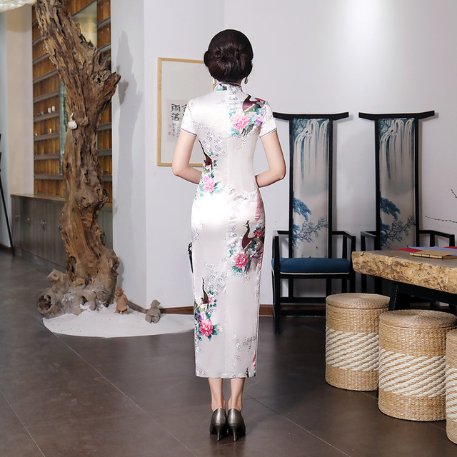 Sexy White Bridal Wedding Dress/Satin Long Qipao Floral Chinese Cheongsams