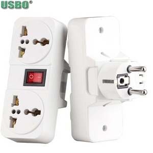 Image 2 - White Portable Universal Wall socket EU US UK extension socket 250V 6A 10A 125V power converter plug Adapter with on off switch