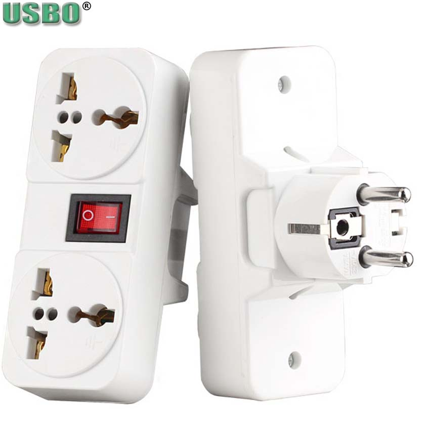 White copper 250v 6A 10A 125V EU UK Universal wall socket Portable 2way outlet extend converter plug adaptor with on off switch