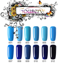 Hot Sale Healthy and Eco-friendly12Color Blue Series Gel Nail Polish Soak Off Gel Lucky UV Nail Varnish Free Shipping Gouserva
