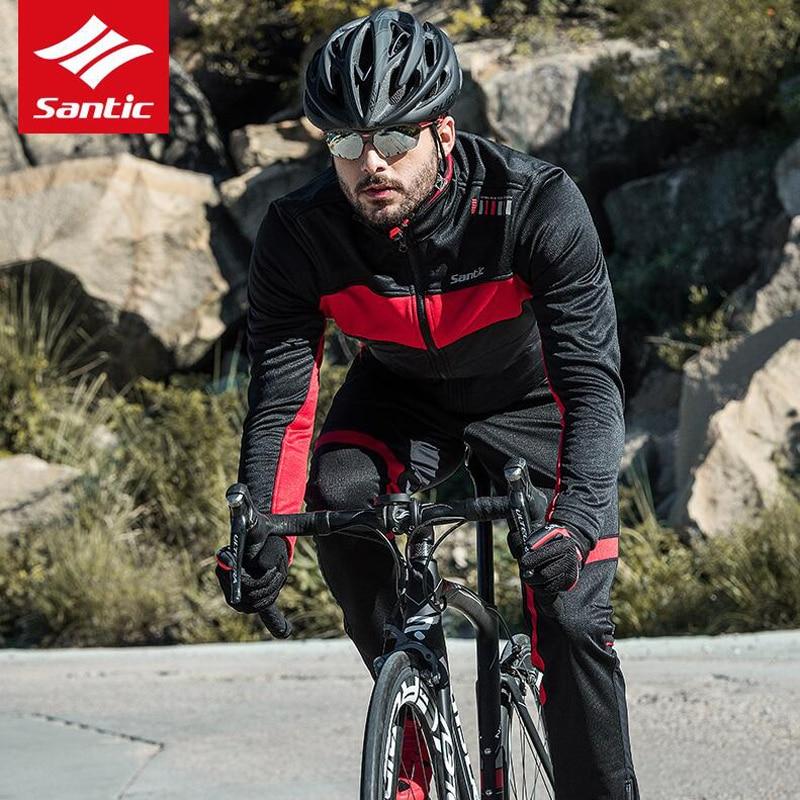 new arrival 0a5d8 91508 US $64.69 24% OFF|Santic Männer Winter Fleece Thermische Langarm Radfahren  Jacke Gula Warme & Winddicht Radfahren MTB Rennrad Windjacke jersey-in ...
