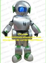 슈퍼 화이트 로봇 Automaton 지능형 기계 마스코트 의상 녹색 이어폰 라운드 화이트 헤드 파란 눈 No.4340 무료 배송