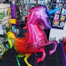 136X97Cm Giant Laser Gradiënten Eenhoorn Paard Ballon Regenboog Eenhoorn Folie Ballon Voor Grand Event Birthday Party Decor kid Speelgoed