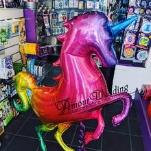 136x97cm gigante laser gradientes unicórnio cavalo balão arco íris unicórnio folha balão para grande evento festa de aniversário decoração criança brinquedos