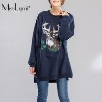 MissLymi XXL 4XL Plus Size Women Loose Sweatshirt 2017 Autumn Cartoon Deer Print Long Sleeve Casual
