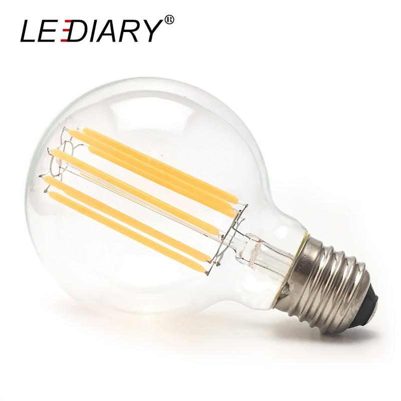 LEDIARY Flicker-free G80 E27 LED Filament Bulb 10w D80mm*H120mm Global Light Ball Light for Chandelier Pendant Lamp 2700K 220V