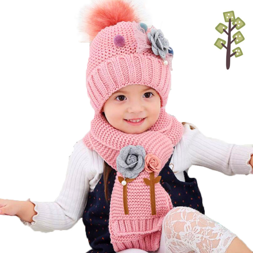 Girls Winter Hat Scarf Set For Kids Flower Hailball Beanies And ScarvesChild Fur Pom Pom Knit Cap Warm Bonnet 2 Pcs Suit M5322