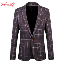 Men Plaid Blazer Jacket Brand Casual Business Blazer Suit Male Plus Size 5XL 6XL Cotton Wedding Masculino Costume Homme F2086
