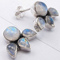 Solid Silver Round & Drop RAINBOW MOONSTONE 2 STONE Studs Earrings 1.5 CM