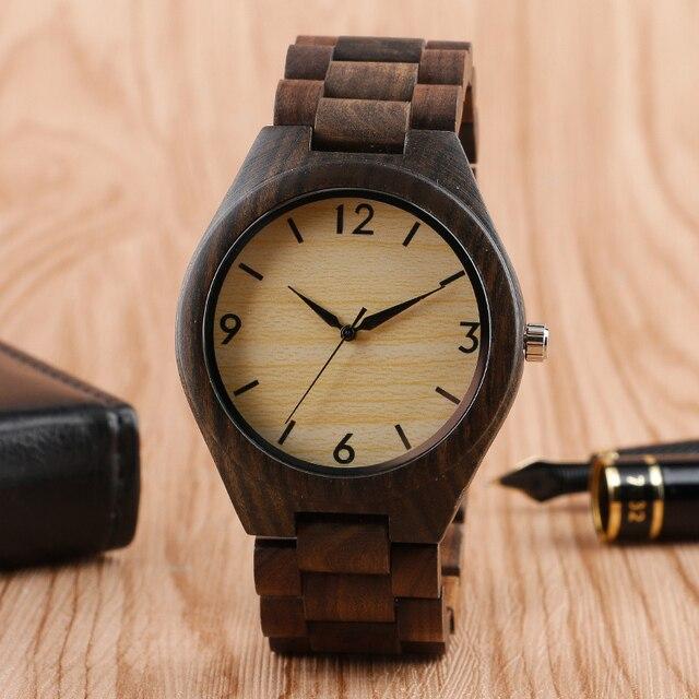Creative Full Natural Wood Male Watches Handmade Bamboo Novel Fashion Men Women Wooden Bangle Quartz Wrist Watch Reloj de madera