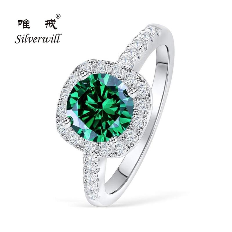 Silverwill 925 argent sterling 1.5 carat bague de fiançailles émeraude simulée femme 2019 Moissanite anneaux cadeau spécial bijou de mariée