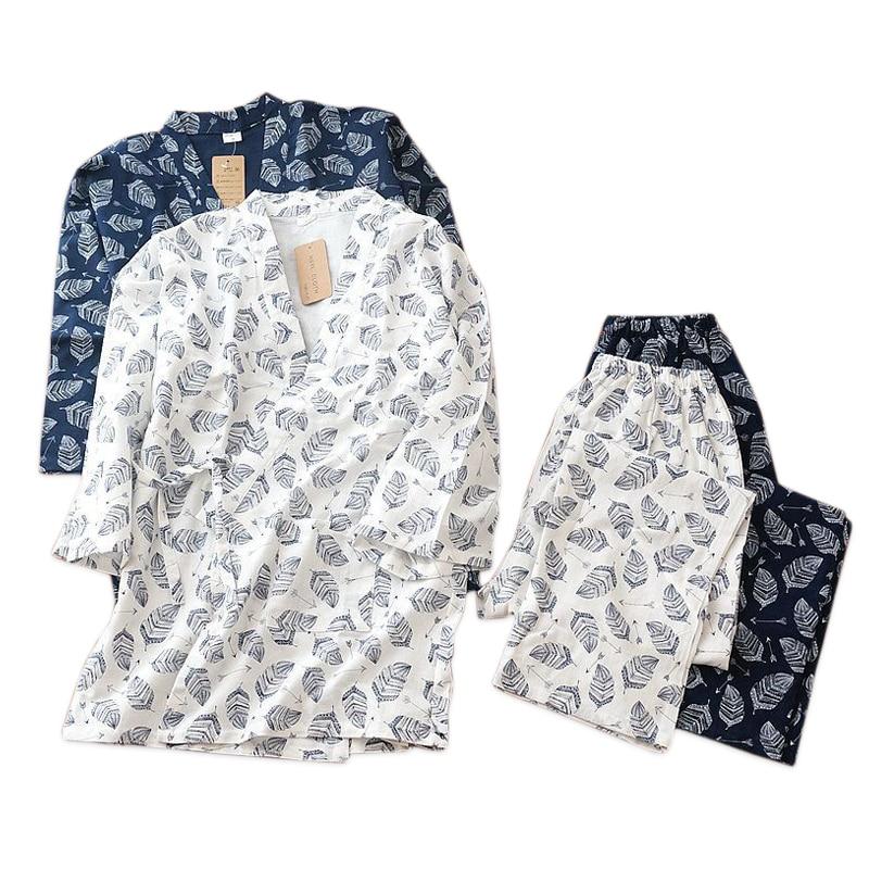 838a5770c1 Detail Feedback Questions about Spring 100% cotton Japanese kimono robes  men pajamas sets Fresh leaves dressing gown long sleeve pyjamas kimono  pijama ...