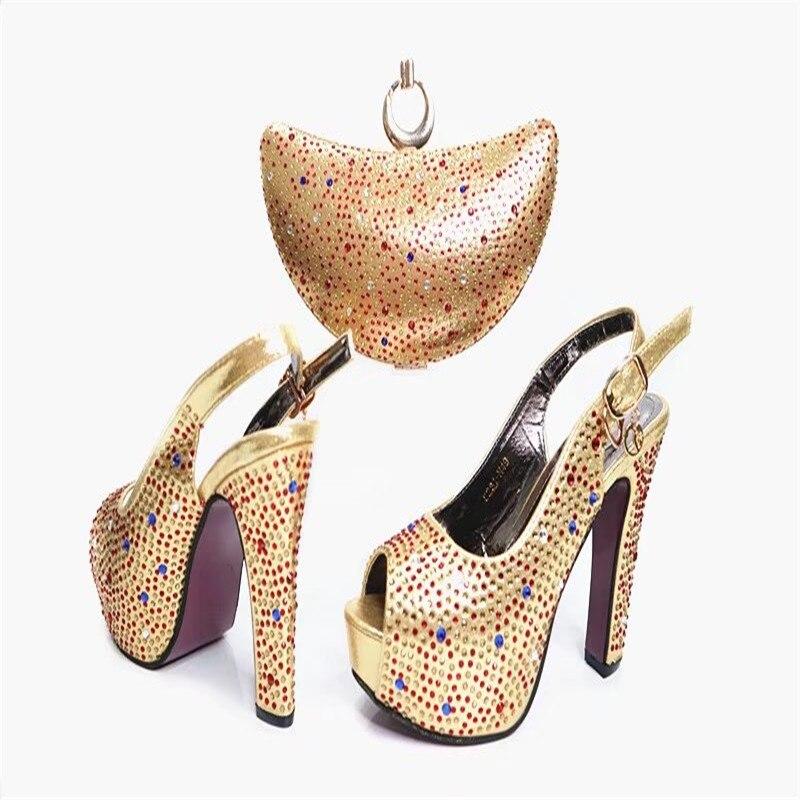 Online Shop G37 Top Quality Luxury Rhinestone European Wedding Shoes And Bag Set Popular Italian